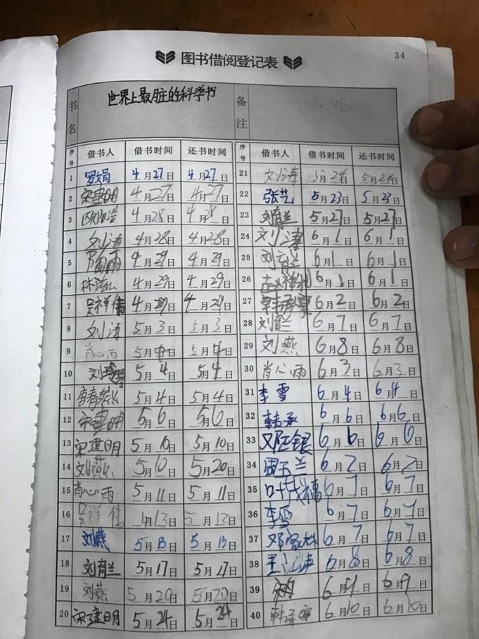 在「愛心圖書角」為「班班有個圖書角」建成App前,鄉村中的莘莘學子還是沿用紙筆記錄圖書借閱的情況。(圖片來源︰擔當者行動網頁)