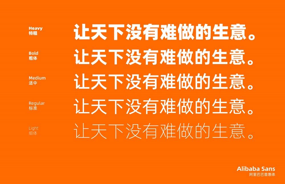 「阿里普惠體」的中文字體包含5個字重。