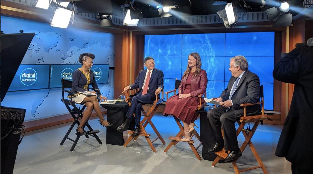 聯合國秘書長古特雷斯昨晚與梅琳達‧蓋茨及馬雲通過線上直播介紹世界數字經濟報告。