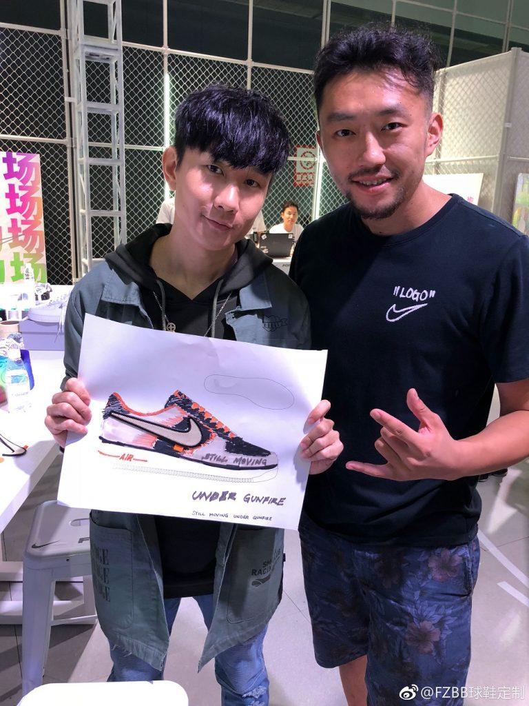 去年底,桑梓峰連同FZBB團隊與歌手林俊杰合作,為對方設計特別版球鞋。(摘自FZBB微博)