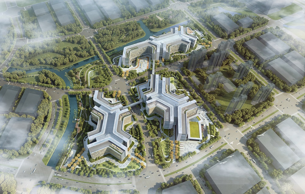 阿里巴巴集團北京總部園區選址中關村科技園區的朝陽園電子城北區,圖為總部園區的模擬落成圖。